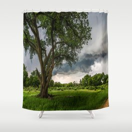 Big Tree - Tall Cottonwood and Passing Storm in Texas Shower Curtain