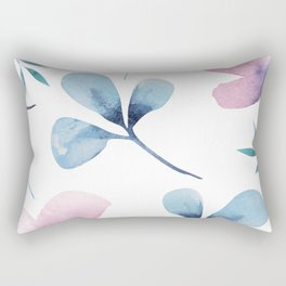 Romantic Watercolor Floral Print Rectangular Pillow