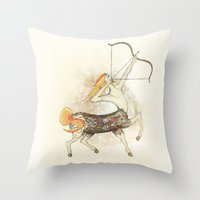 sagittarius Throw Pillows featuring Sagittarius by Vibeke Koehler