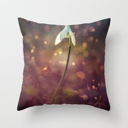 Snowdrops in the afternoon rain Throw Pillow