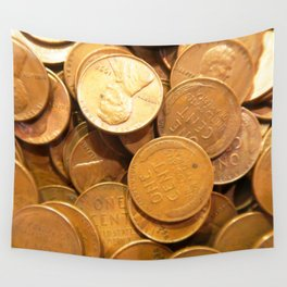 Watercolor Coins, Lincoln Wheat Pennies, 1958 01 Wall Tapestry