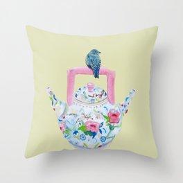 Bluebird and Teapot Throw Pillow