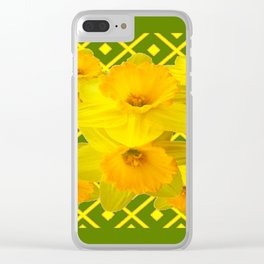Moss Green Yellow Spring Daffodils Art Clear iPhone Case