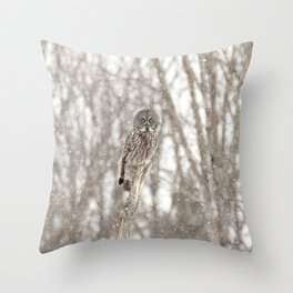 Great gray on a snowy day Throw Pillow