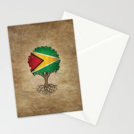 Vintage Tree of Life with Flag of Guyana Stationery Cards