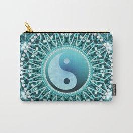 Tranquility Yin Yang Blue Aqua Mandala Carry-All Pouch