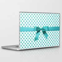 polkadot Laptop & iPad Skins featuring Blue Tiffany Polkadot by albert Junior