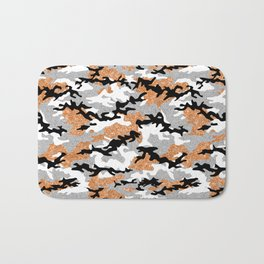 Faux Glitter Orange Camouflage Bath Mat