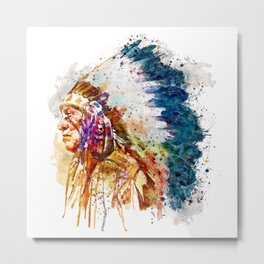 Native American Chief Metal Print