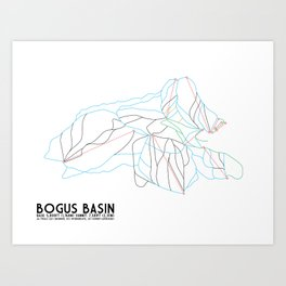 Bogus Basin, ID - Minimalist Winter Trail Art Art Print