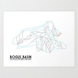 Bogus Basin, ID - Minimalist Winter Trail Art Art Print