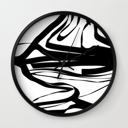 """"""" Abstract Collection """" - Abstract Black And White Lines Wall Clock"""