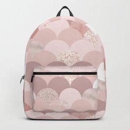 Blush chic pink faux rose gold glitter elegant scallop Backpack