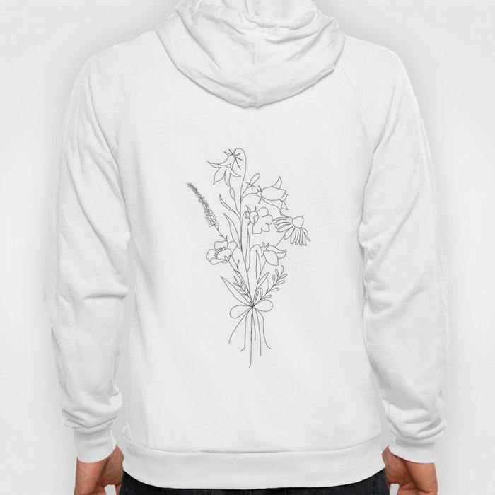 Small Wildflowers Minimalist Line Art Hoody