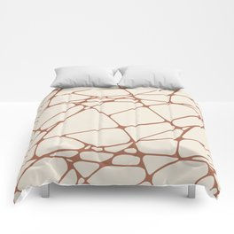 Cavern Clay SW 7701 Abstract Mosaic Pattern 1 on Creamy Off White SW7012 Comforters
