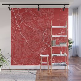Fayetteville Map, USA - Red Wall Mural