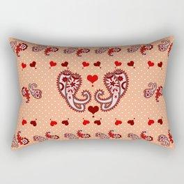 Paisley, Dots and Hearts Rectangular Pillow