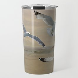 Seagulls Flying Along the Beachfront Travel Mug