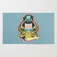 finn and jake Area & Throw Rugs featuring Time for Adventure with Finn, Jake, BMO, and Lady Rainicorn by MattBlanksArt