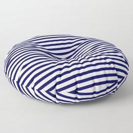 Navy Blue & White Maritime Small Stripes - Mix & Match with Simplicity of Life Floor Pillow
