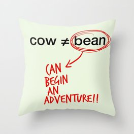 cow and bean Throw Pillow