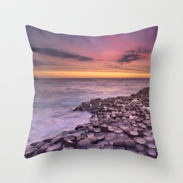 The Giant's Causeway in Northern Ireland at sunset Throw Pillow