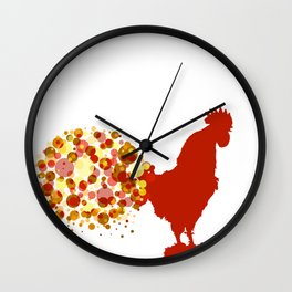 Chinese Lunar New Year Of The Rooster Zodiac Animal 2017 Wall Clock