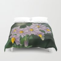potato Duvet Covers featuring Potato Flowers by taiche
