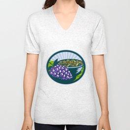 Grapes Raisins Bowl Oval Woodcut Unisex V-Neck