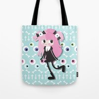 pastel goth Tote Bags featuring Pastel Goth by Irene Dose