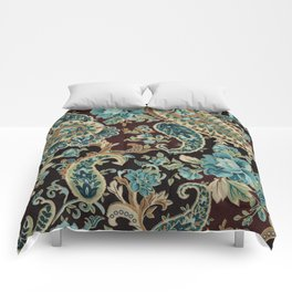 Brown Turquoise Paisley Comforters