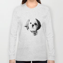 Shih Tzu In Black And White By Annie Zeno Long Sleeve T-shirt