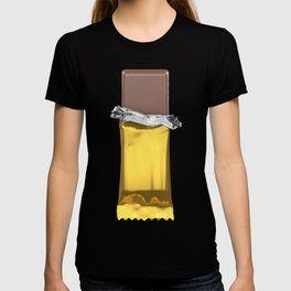 Chocolate candy bar in gold wrapper T-shirt