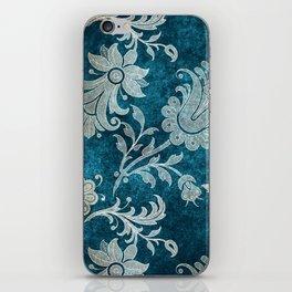 Aqua Teal Vintage Floral Damask Pattern iPhone Skin