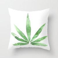 cannabis Throw Pillows featuring Cannabis   by kristinesarleyart