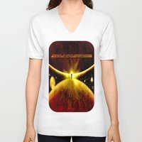 atlas V-neck T-shirts featuring ATLAS - 225 by Lazy Bones Studios