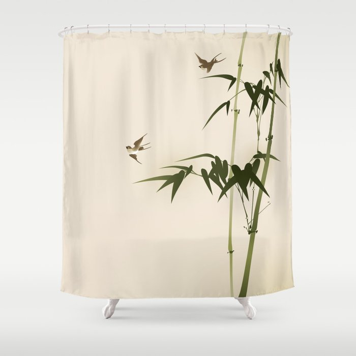 Oriental Style Bamboo Branches 001 Shower Curtain