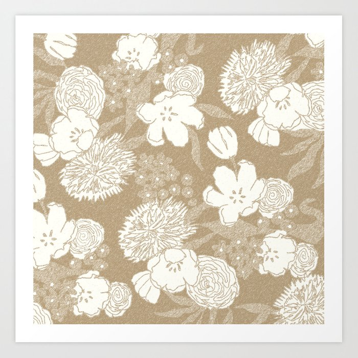 Sketchy Floral: Camel Ivory/White Art Print