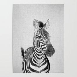 Zebra 2 - Black & White Poster