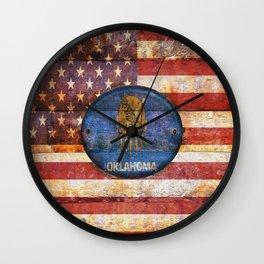 Usa and Oklahoma flags. Wall Clock