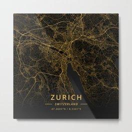 Zurich, Switzerland - Gold Metal Print