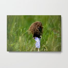 Girl with long brown hair hiking in nature Metal Print