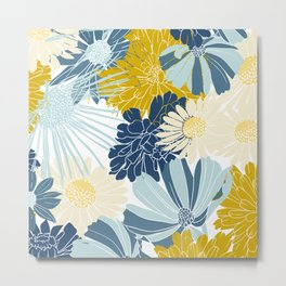 Floral Print, Yellow and Blue, Art For Print Metal Print