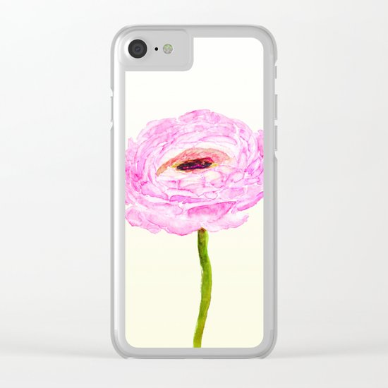 pink cultivited buttercup, Ranunculus Clear iPhone Case