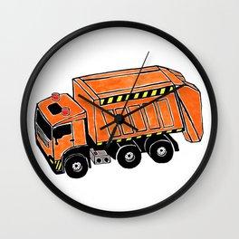 Orange Garbage Truck Wall Clock