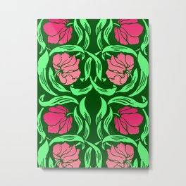 William Morris Pimpernel, Coral Pink and Green Metal Print