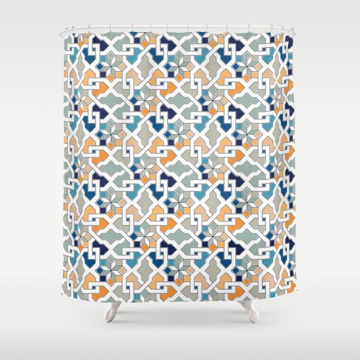 Geometric Pattern Oriental Design Shower Curtain