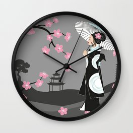 Japanese Geisha under Cherry Blossoms Wall Clock
