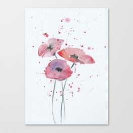 Red poppy flowers watercolor painting Canvas Print