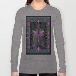 Violet Ethereal Dragonfly Grey Abstract Long Sleeve T-shirt